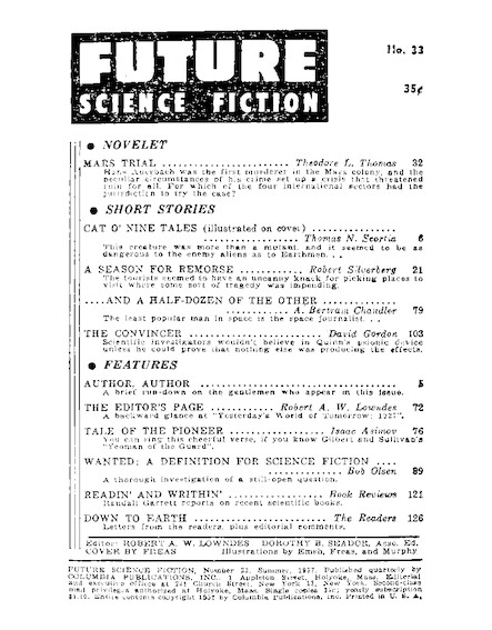 Wanted: A Definition Of Science Fiction