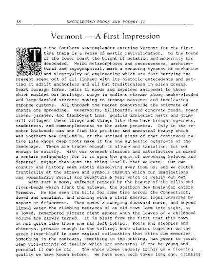 Vermont - A First Impression