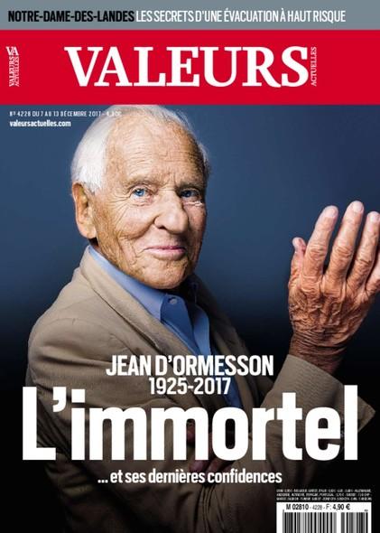 Valeurs Actuelles - Décembre 2017 - Jean d'Ormesson : l'immortel