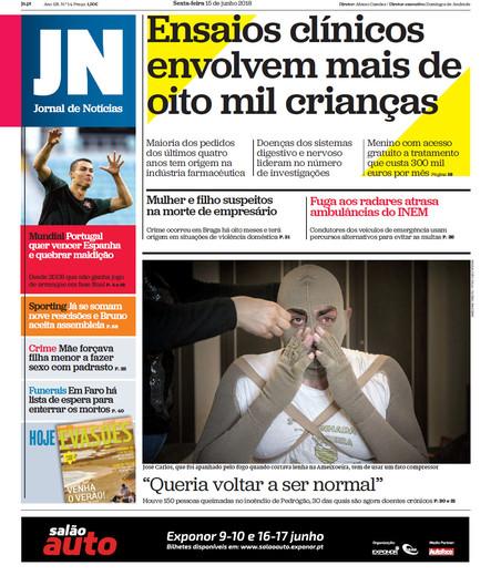 Jornal de Notícias - 15 de junho 2018