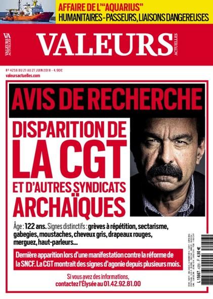 Valeurs Actuelles - Juin 2018 - Disparition de la CGT et d'autres Syndicats Archaïques