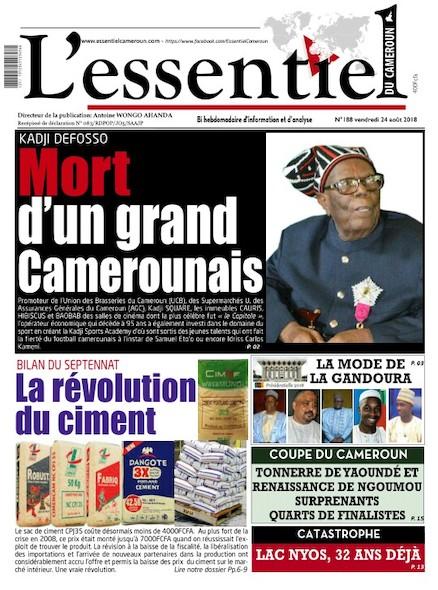 L'essentiel du Cameroun numéro 188