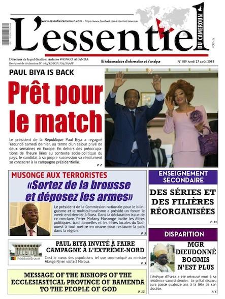 L'essentiel du Cameroun numéro 189
