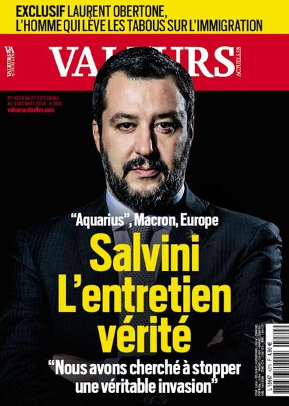 Valeurs Actuelles - Septembre 2018 - Salvini, l'entretien vérité