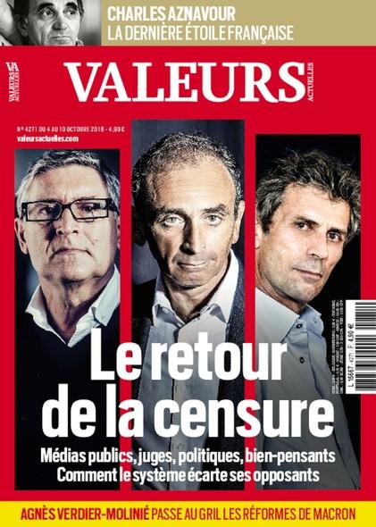 Valeurs Actuelles - Octobre 2018 - Le retour de la censure