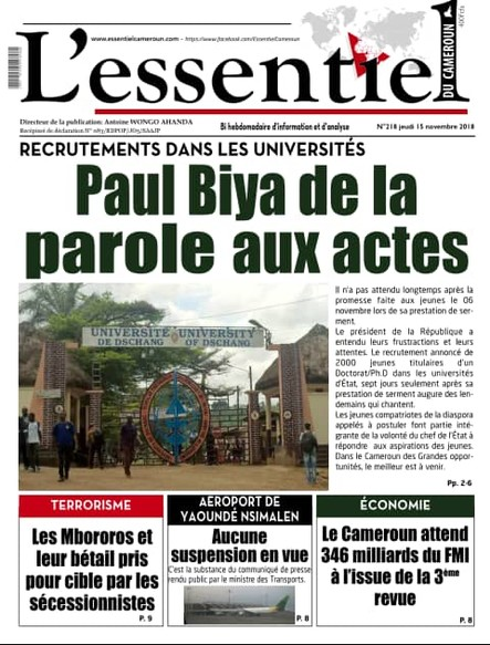 L'essentiel du Cameroun numéro 218