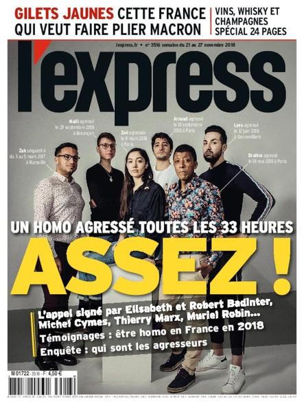 L'Express - Novembre 2018 - Un homo agressé toutes les 33 heures. ASSEZ