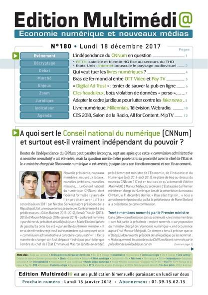 Edition Multimedia 180 - Lundi 18 decembre 2017