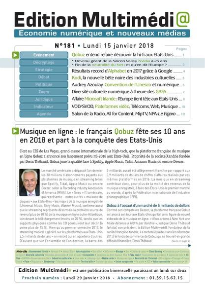 Edition Multimedia 181 - Lundi 15 janvier 2018