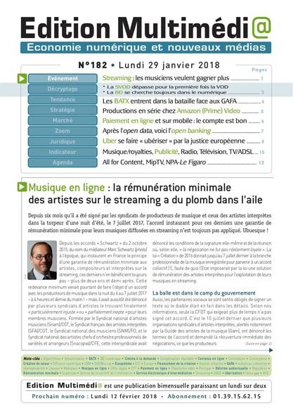 Edition Multimedia 182 - Lundi 29 janvier 2018