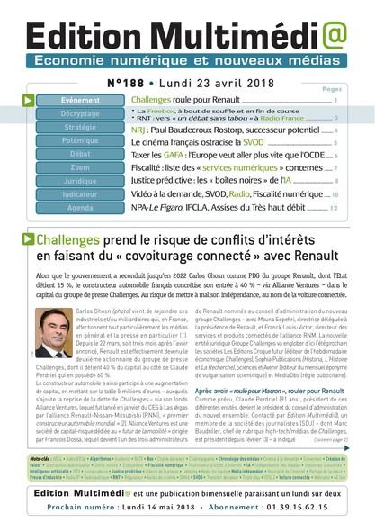 Edition Multimedia 188 - Lundi 23 avril 2018