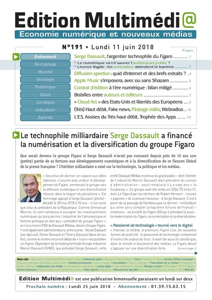Edition Multimedia 191 - Lundi 11 juin 2018