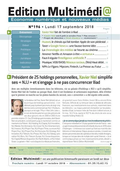 Edition Multimedia 196 - Lundi 17 septembre 2018