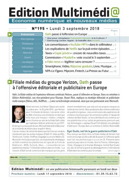 Edition Multimedia 195 - Lundi 3 septembre 2018
