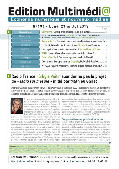 Edition Multimedia 194 - Lundi 23 juillet 2018