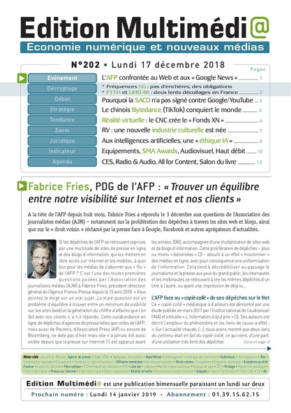 Edition Multimedia 202 - Lundi 17 decembre 2018