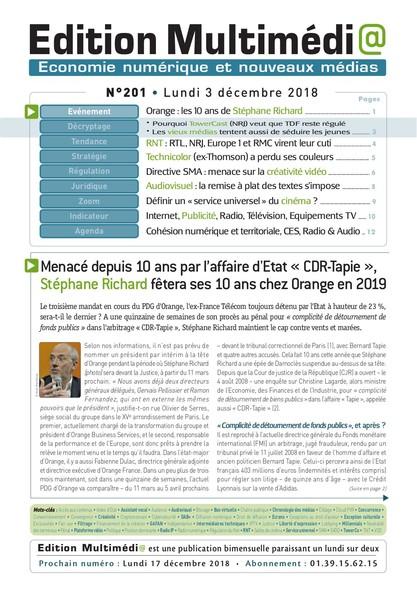 Edition Multimedia 201 - Lundi 3 decembre 2018