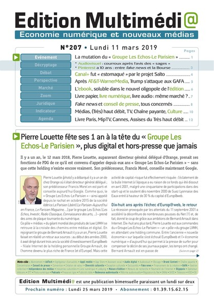 Edition Multimedia 207 - Lundi 11 mars 2019