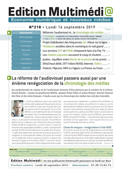 Edition Multimedia 218 - Lundi 16 septembre 2019