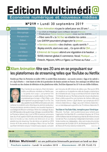 Edition Multimedia 219 - Lundi 30 septembre 2019