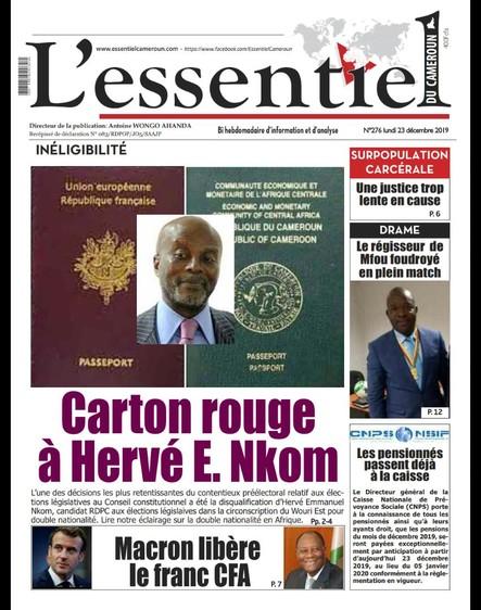 L'essentiel du Cameroun numéro 276