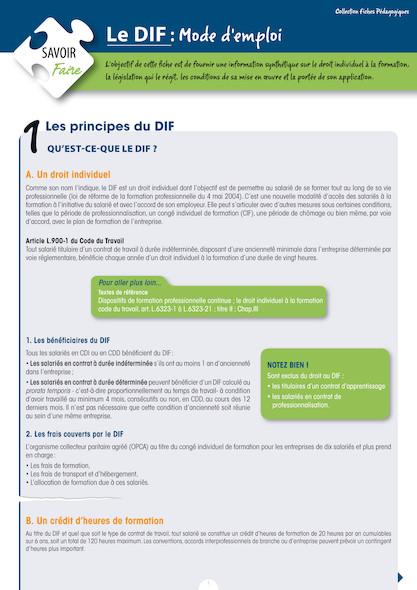 Le DIF (Droit Individuel à la Formation), mode d'emploi