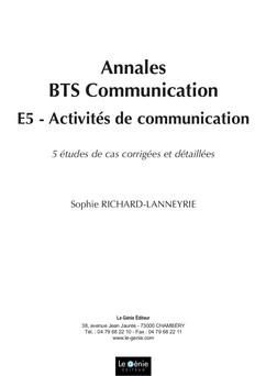 Activités de communication Epreuve E5 BTS Communication  - 5 études de cas corrigées et détaillées | Sophie Richard-Lanneyrie