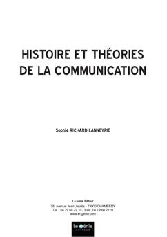 Histoire et théories de la communication | Sophie Richard-Lanneyrie