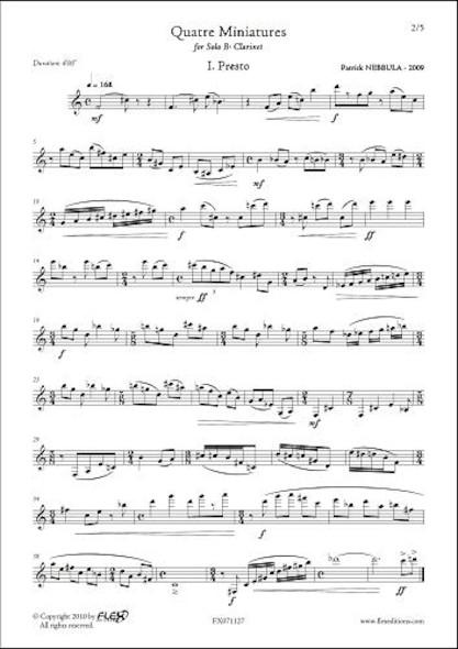 Quatre Miniatures P. NEBBULA Clarinette Solo