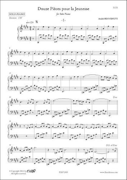 12 Pièces pour la Jeunesse Volume 1 A. BENVENUTI Piano Solo