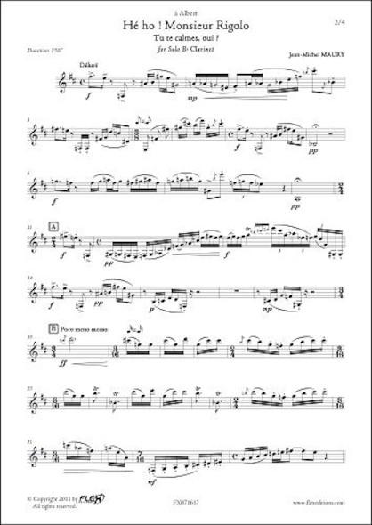 Hé ho ! Monsieur Rigolo J.-M. MAURY Clarinette Solo