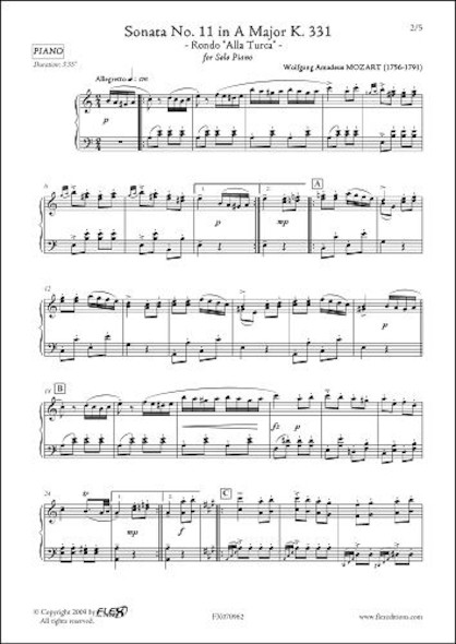 Sonate No. 11 en La Majeur K. 331 Rondo Alla Turca W.A. MOZART  Piano Solo
