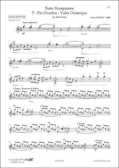 Suite Europeenne 7 Fin Octobre : Valse Océanique P. DUBOST Guitare Solo