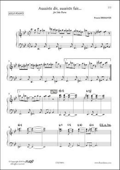 Aussitôt dit, Aussitôt fait... F. DEMANGE Piano Solo