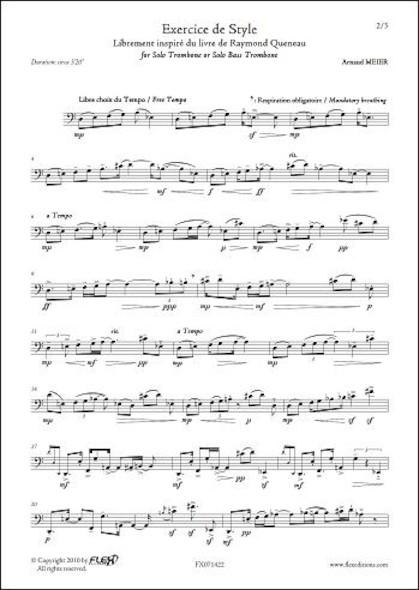 Exercice de Style A. MEIER Trombone ou Trombone Basse Solo