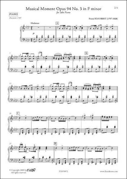Moment Musical Opus 94 No. 3 en Fa mineur F. SCHUBERT Piano Solo