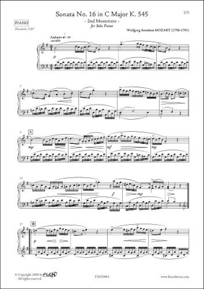 Sonate No. 16 en Do Majeur K. 545 Mouvement 2 W.A. MOZART  Piano Solo