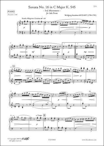 Sonate No. 16 en Do Majeur K. 545 Mouvement 3 W.A. MOZART  Piano Solo