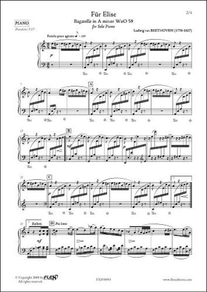 Lettre à Elise L.v. van BEETHOVEN Piano Solo