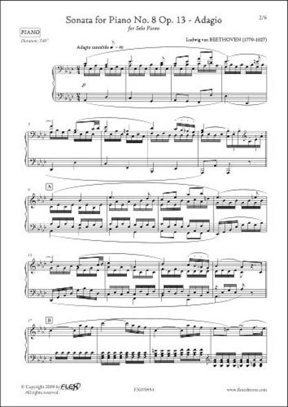 Sonate Opus 13 No. 8 La Pathétique L.v. van BEETHOVEN Piano Solo