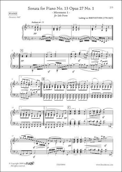 Sonate No.13 Opus 27 No. 1 Mouvement 1 L.v. van BEETHOVEN Piano Solo