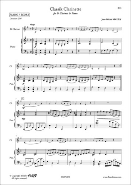 Classik Clarinette - J.-M. MAURY - Clarinette et Piano