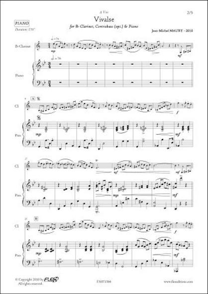 Vivalse - J.-M. MAURY - Clarinette & Piano & Contrebasse (Opt.)