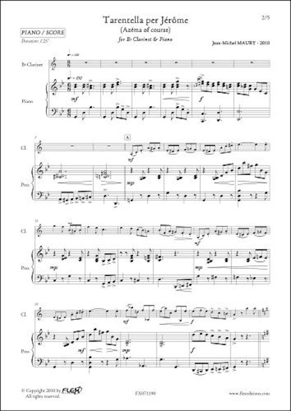 Tarentella per Jérôme - J.-M. MAURY - Clarinette