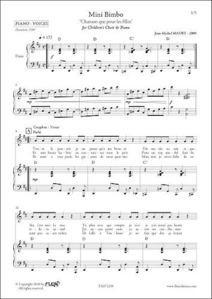 Mini Bimbo - J.-M. MAURY - Chorale d'Enfants et Piano