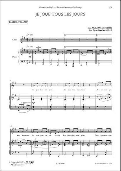 Je Joue tous les Jours - J.-M. MAURY - Chorale d'Enfants et Piano