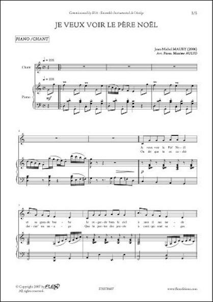Je Veux Voir le Père Nöel - J.-M. MAURY - Chorale d'Enfants et Piano