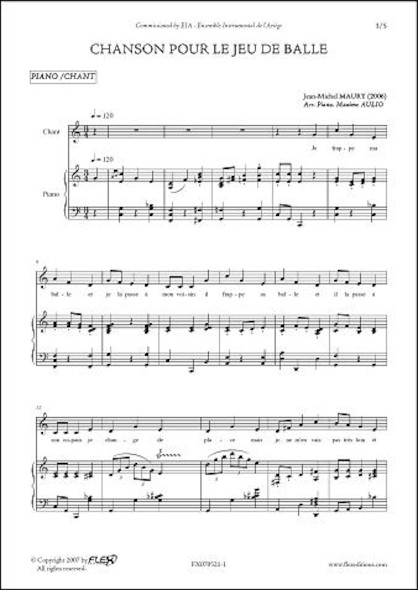 Chanson pour le Jeu de Balle - J.-M. MAURY - Chorale d'Enfants et Petit Ensemble