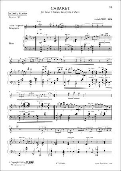 Cabaret - A. LOPEZ - Saxophone Ténor ou Soprano & Piano