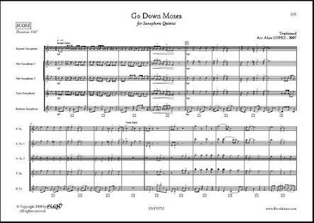 Go Down Moses - A. LOPEZ - Quintette de Saxophones